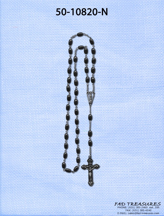 Rosary With Black Beads & Cross Necklace