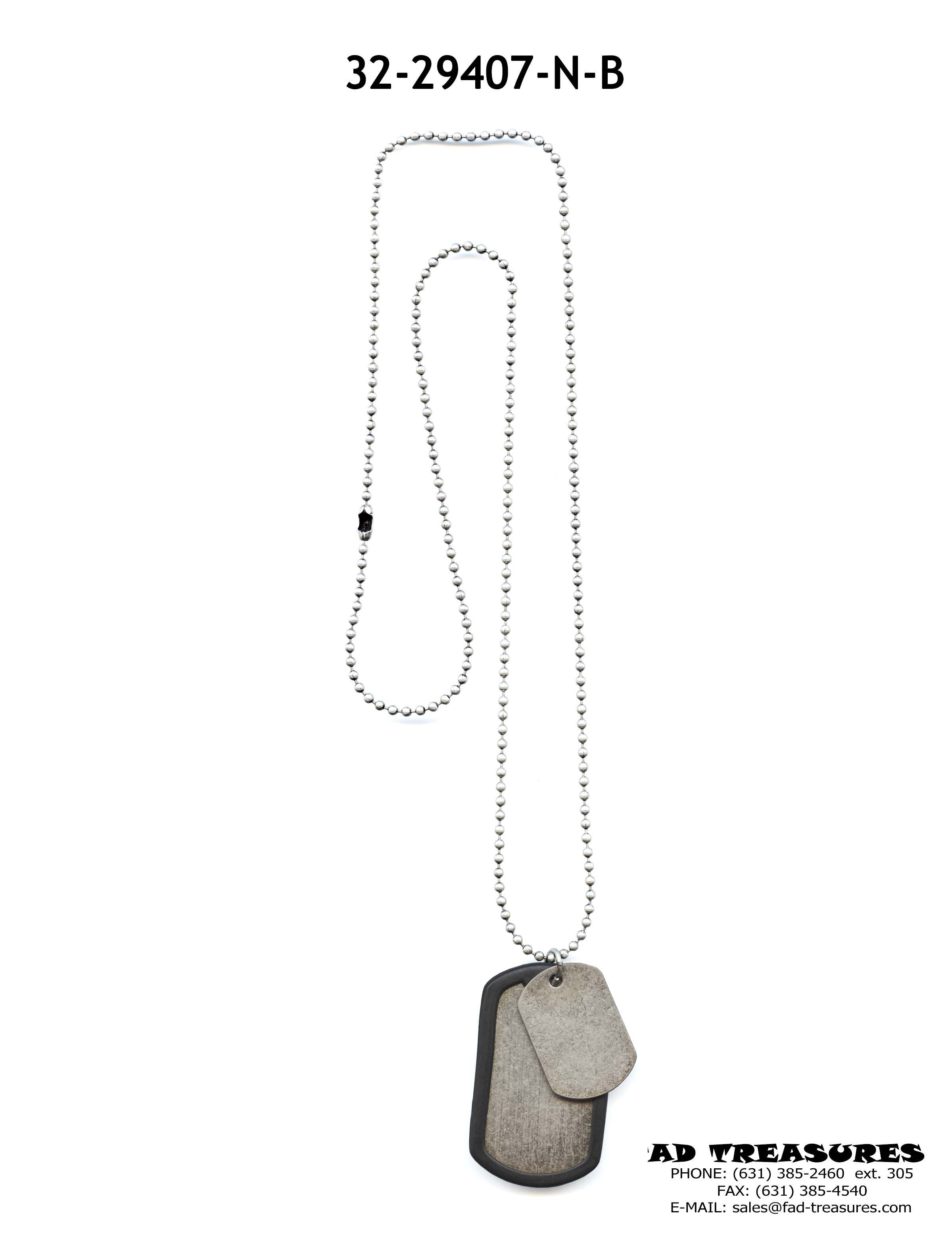 Burnish Silver Ball Chain Black Rubber Dog Tags Necklace