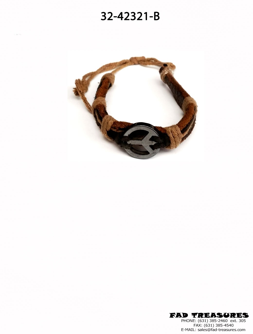 Leather Rope With Hematite Peace Charm Bracelet