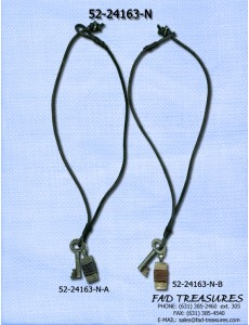 Key & Wrapped Bar Leather Necklace