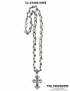 Burnish Silver Chain White Rope Necklace