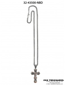 Burnish Silver Chain & Cross Brown Wood Layer Necklace