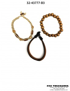 Brown Beaded Leather & Rope 3Pc Bracelet Set